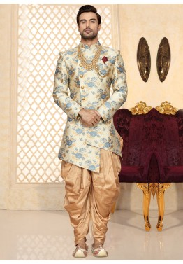 b4152fd199 Indian Groom Outfit: Buy Off-White Asymmetrical Sherwani Dress Online With  Dhoti