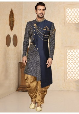 c9aa421cdc Indo Western for Men: Buy Navy Blue Asymmetrical Sherwani Online With Dhoti