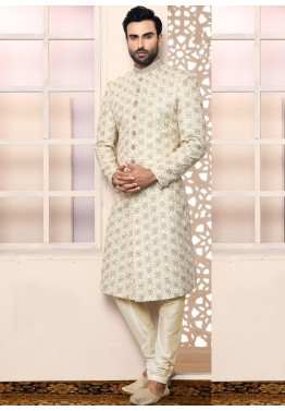 ac68af921d Buy Off-White Embroidered Art Silk Indian Wedding Sherwani for Groom