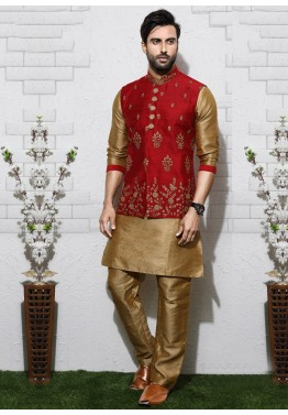 b09718f1e5 Buy Beige Indian Kurta Pajama Online With Wedding Nehru Jacket for Men