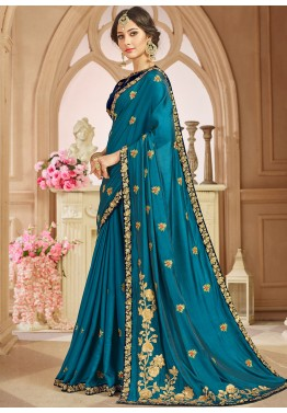 a19b037c18 Blue Crape Silk Embroidered Party Wear Indian Saree Online Shopping USA
