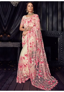 a1e5ded4c38 Cream Applique Embellished Net Indian Saree Online Shopping
