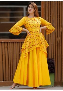 Kurti Casual wear Dress Beautiful Reyon Dori Work On Neck Kurti And Lace Beauti Ful Design Skirt Latest design Reyon Kurti With Skirt