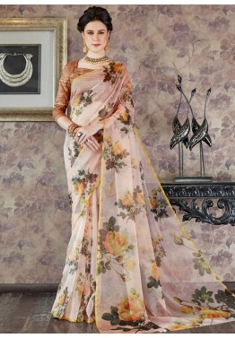 6e5eae24667 Pastel Pink Floral Printed Organza Silk Indian Sarees Online Shopping USA
