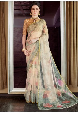 a1023c857c9 Cream Floral Printed Organza Silk Indian Saree online Shopping