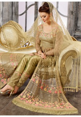 571bc2d6fd4 Bridal Salwar Suits - Buy Green Embroidered Net Side Slit Pant Suit Online