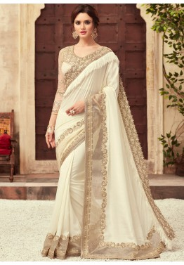 0347243c10e Off-White Embroidered Art Silk Indian Saree Online Shopping USA