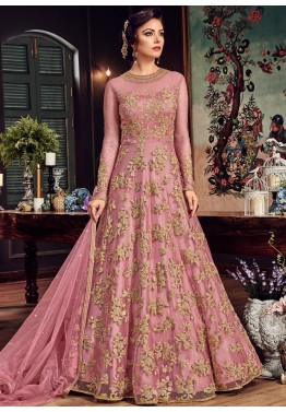 318be4f9c7 Indian Designer Dresses: Buy Pink Net Abaya Style Suits Online USA
