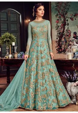 1329a0345 Eid Dresses  Buy Turquoise Net Abaya Style Salwar Kameez Online Shopping USA
