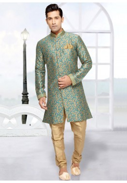 339c8e5974 Buy Readymade Beige Indo Western Wedding Sherwani for Men Online