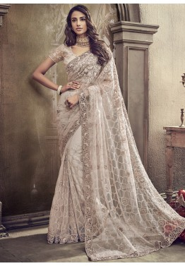943840ff1f9 Off White Net Embroidered Online Indian Saree Shopping With Blouse