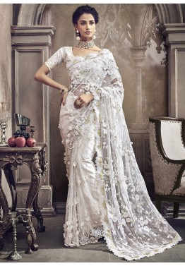 283e9ecc9c Indian Dresses: Buy White Net Embroidered Indian Saree Online USA