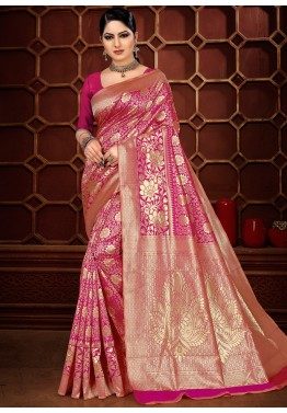 1bfadaf7cc Buy Pink Woven Banarasi Silk Party wear Sarees Online USA Quick View