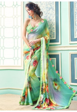 Floral Digital Print Saree Designer Women Flower Printed Sari Fancy Party Blouse