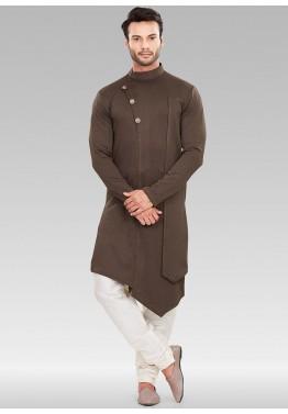 15d934e390 Brown Asymmetric Readymade Mens Kurta Pajama Online Shopping in New York