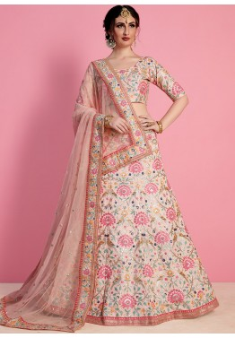 41a296edaa Pastel Peach Embroidered Indian Bridal Lehenga Choli Online Shopping
