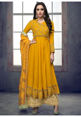 98030e79e Eid Dresses  Yellow Angrakha Style Palazzo Suits Online Shopping USA