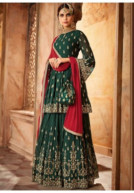 493ef747e Indian Eid Clothes: Green Embroidered Pakistani Style Indian Shalwar Kameez  Online