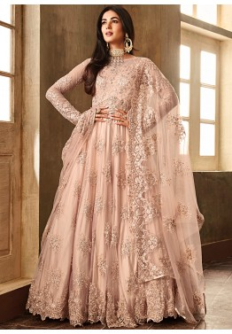 c95fcfb5247 Sonal Chauhan Pastel Peach Embroidered Pakistani Salwar Kameez Online  Shopping USA
