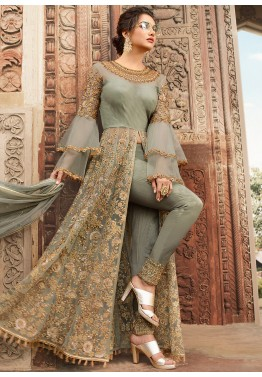 7a97e21610 Buy Pista Green Embroidered Slit Style Pakistani Salwar kameez USA