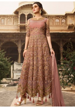 17ba19bbcb0 Dusty Pink Embroidered Net Anarkali Style Pakistani Salwar Kameez Shopping  Online