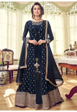273ac4ead0 Navy Blue Embroidered Anarkali Jacket Style Pakistani Salwar Kameez