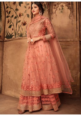 42cfb58e8a Indian Designer Dresses: Buy Peach Net Embroidered Pakistani Shalwar Suit  Online