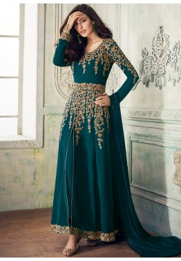 e5d3ef23bf9 Eid Clothes 2019  Buy Teal Blue Embroidered Slit Style Pant Suit Online in  USA