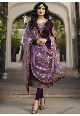 4f1e9f19c3f Dark Purple Embroidered Georgette Indian Salwar Suit Shopping online