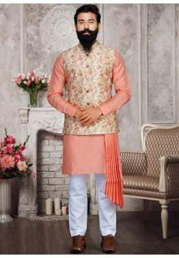 bb62429d4e Buy Peach Asymmetric Mens Kurta Pajama Online With Nehru Jacket for Wedding