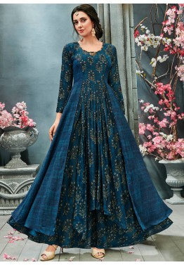 d66e02b9c Buy Blue Readymade Printed Indo Western Maxi Dress Online for Women