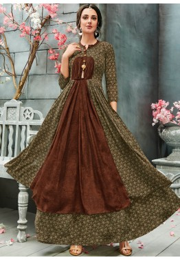 86e5ceb1fcf4 Buy Olive Green Readymade Printed Indo Western Dress Online in USA