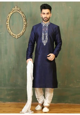 05f379f583 Indian Traditional Wedding Dresses for Men: Buy Blue Art Silk Kurta Pyjama  Online