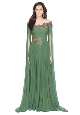 e81af3b98a7 Indian Gowns  Buy Readymade Green Georgette Indo Western Gown Online