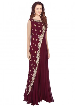 b2179b75087 Indian Gowns  Buy Readymade Dark Maroon Georgette Indo Western Gown Online