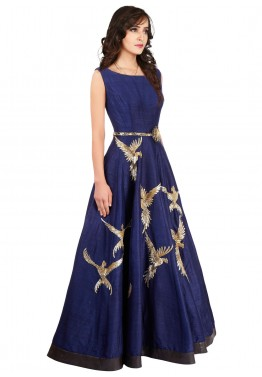 b15fdaedb9 Indo Western Dress  Buy Readymade Navy Blue Raw Silk Indian Gowns Online