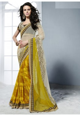 7639997c96e Buy Off White   Yellow Crape Jacquard and Net Sarees Online With Blouse