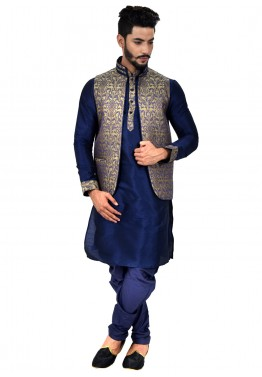 854a48c8331 Mens Indian Clothing  Buy Readymade Navy Blue Art Silk Kurta Pyjama with  Nehru Jacket