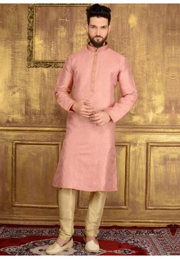 4c1ff49ae8 Traditional Indian Men Clothing  Buy Readymade Light Pink Brocade Kurta  Pajama Online