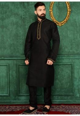 2b4ea296e5 Kurta Pajama for Mens: Buy Readymade Black Art Silk Kurta Pajama Online