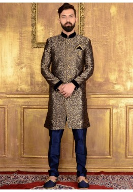 Mens Wedding Sherwani Readymade Gold Blue Brocade Indian For Men Online