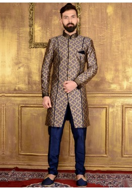 6a5f5cede4d Sherwani  Buy Readymade Gold   Blue Brocade Indian Sherwani for Men Online