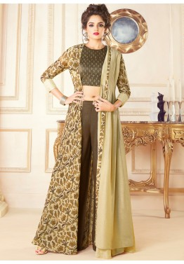 bf414c79d3 Indo Western Dress  Buy Brown Art Silk Top Palazzo Set With Jacket Online