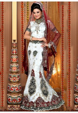 9b231297891b7d Shop for Embroidered White Net Fish Cut Lehenga Choli Online in USA