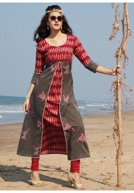 76e4455bcc Kurtis Online India: Buy Red & Grey Printed Twin Layered Cotton Indian  Kurtis