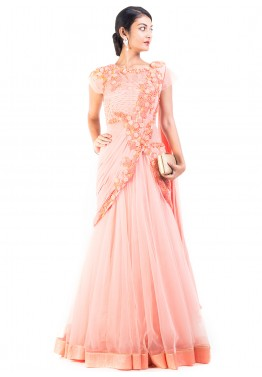 824e454caf9 Indian Gown  Buy Peach Net Saree Style Indo Western Gown Online