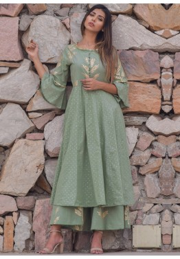 137e10f4b6ce1 Indo Western Dress  Buy Green Block Print Kurta Palazzo Set Online
