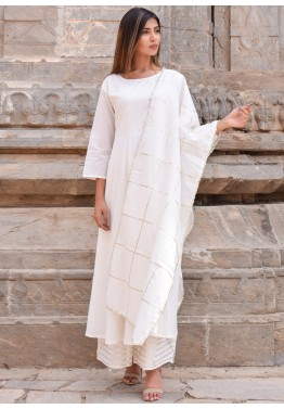 cf9d1c14b Gota Patti Suits - Off White Readymade Cotton Palazzo Suit Online USA