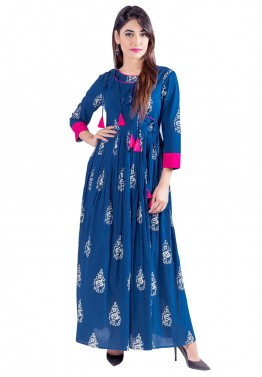 546a235361b Indo Western Dress: Buy Readymade Blue Cotton Indian Tunics Online