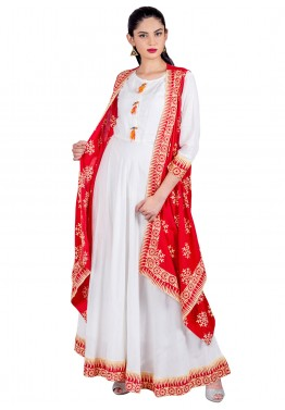 6f304ee1644 Indo Western Dress: Buy Readymade White & RedRayon Indian Tunics Online
